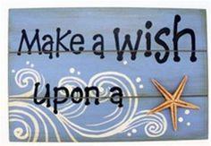 "Make a Wish Upon a Starfish Wood Sign Gift Home Beach House Decor 11.75"" X 7.75"""