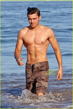 6bcc984bfe A shirtless Zac Efron showed off his rock hard bod while taking an early  morning swim with his brother Dylan in Maui on Sunday.