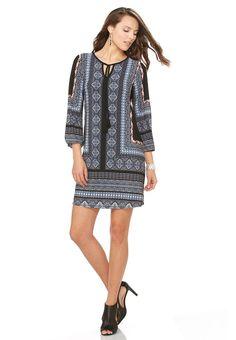 Placement Print Shift Dress-Plus Dresses Cato Fashions