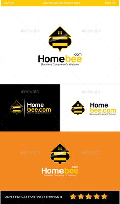 Home Bee Logo #vector #eps #tv #bee home • Available here → https://graphicriver.net/item/home-bee-logo/9929784?ref=pxcr
