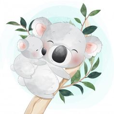 Cute Little Koala Bear Mother And Baby Baby Animal Drawings, Animal Sketches, Cute Drawings, Baby Animals, Cute Animals, Wild Animals, Deco Baby Shower, Portrait Cartoon, Baby Posters