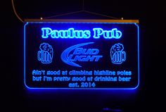 Personalized Custom Bar, Man Cave LED Remote Controlled LED Sign by Unique LED Products  http://www.uniqueledproducts.com/store/c13/Personalized_Bar_Signs%2C_Man_Cave_Signs%2C_Garage_Signs.html
