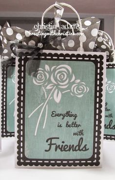 Easily alter a plain white gift bag and take it from drab to dynamite in a snap! http://www.creatingwithchristine.com/2014/10/artfully-sent-friendship-bags.html