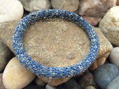 Crochet Glass Seed Bead Bracelets Roll On Bracelets by goldenlines