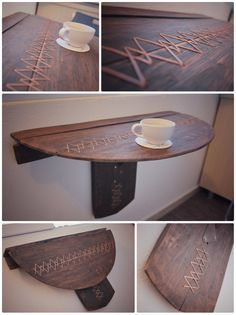 Folding table. Reclaimed wood.  Old wine barrel. Copper stitching.