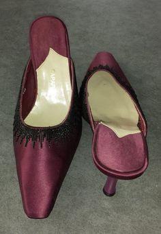 roaring 20's  Caparros burgandy satin hand beaded mules with heels size 6.5 B #Caparros #Mules