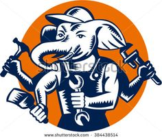 Illustration of an elephant builder plumber mechanic repairman with 4 hands holding hammer wrench spanner and brush set inside circle done in retro woodcut style. - stock vector #handyman #woodcut #illustration