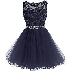 MicBridal® Kurz Spitzen und Tüll Rund-Ausschnitt Rückenlos Kleid Ballkleid mit Strass