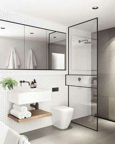 Zwart staal in de badkamer