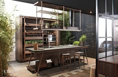 Functional kitchen designs in a modern dramatic look - Home Design Ideas Kitchen Furniture, Kitchen Interior, Kitchen Decor, Kitchen Ideas, Industrial Kitchen Design, Modern Kitchen Design, Industrial Style, Sweet Home, Interior Decorating