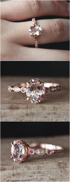 VS Natural 6*8mm Oval Cut Morganite Engagement Ring Pave Ruby/Diamond Ring 14K Rose Gold Ring Wedding Ring Milgarin Anitque Art Deco Style