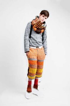 Cynthia Fong Graduate Collection 2 giant yarn knitted scarf and couture knicker bockers , plus fours , over the top mens fashion knitwear