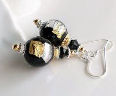 Murano Glass Earrings, Gold Silver Foil Murano, Silver Gold Black Murano Earrings, Gold Foil Venetian Jewelry, Black Murano Earrings, Gold by hhjewelrydesigns on Etsy