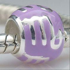 Zodiac Scorpio Purple Enamel Authentic 925 Sterling Silver Core Beads Symbols