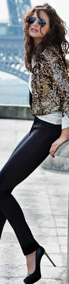 I have a thing for leather pants and gold sequins.. not sure what that says about me..