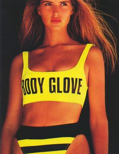 , I had a body glove swimsuit and it was yellow and black striped while piece with a open stomach and back and the piece that went over the chest zipped! Loved that swimsuit