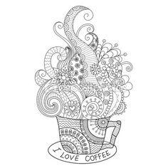 Una taza de diseño de zentangle café caliente para colorear libro para adulto — Vector de stock