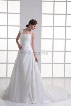 Robe de mariée dans l'eglise de traîne longue de princesse en taffetas d'epaule ecrite