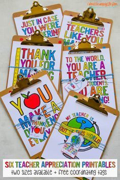 These Six Rainbow Printable Teacher Gifts are perfect for Teacher Appreciation Week or End-of-the-Year gifts. They come with a set of free printable tags that coordinate perfectly.