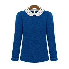 Blue Contrast Collar Long Sleeve Knit Sweater (€16) ❤ liked on Polyvore