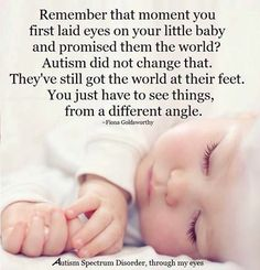 Remember that moment you first laid eyes on your little baby and promised them the world?  Autism did not change that.  They've still got the world at their feet.  You just have to see things, from a different angle.  ~  Fiona Goldsworthy