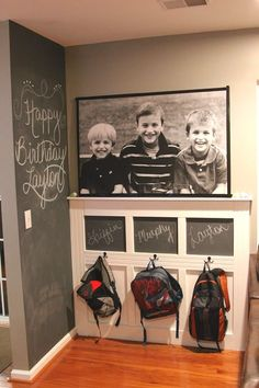 They can drop their backpacks in the same spot each day, and you could use the chalkboards for reminders or to-do lists. See the step-by-step here.