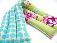 Herbal Heating Pad, Lavender Flax Seed Microwavable Heat Pack, Amy Butler Flannel, Pink Purple Mums. $19.50, via Etsy.
