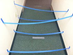 Make a maze in the hallway or child's room with duct tape. Idea for BMT kids or kids stuck in isolation that need to move. Obviously, not for High Fall risk