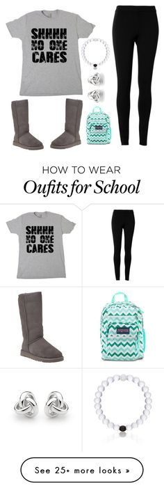 """Everyday about school"" by alexajohnson2 on Polyvore featuring Max Studio, UGG Australia, Everest, Georgini and JanSport"