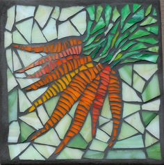 "'Carrots' glass mosaic on porcelain tile 6.5"" square, SOLD"