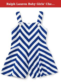 Ralph Lauren Baby Girls' Chevron-Striped Cotton Romper (3 MONTHS, CLASSIC OXFORD WHITE). It's easy to dress her up for a beach day or a playdate in this chevron-striped romper, which is made from soft cotton jersey and has cute straps that button at the front.