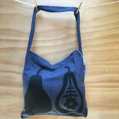 Items similar to Hand Screen printed Pears, Blue Denim, Screen Printing, My Design, Printed, Bag, Etsy, Products, Fashion