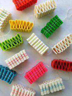Molly's Sketchbook: Ribbon Candy Felt Ornaments