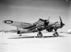 Beaufighter Mark IC, T3316 'M', of No. 272 Squadron RAF, on the ground at Idku, Egypt. Air Force Aircraft, Ww2 Aircraft, Fighter Aircraft, Military Aircraft, Fighter Jets, Bristol Blenheim, Bristol Beaufighter, George Cross, Aviation Image