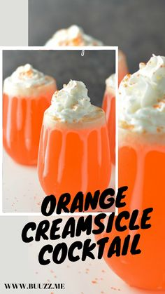 Orange Creamsicle Cocktail Recipe If you liked Orange Creamsicles as a kid, try this Orange Creamsicle for adults! Easy to make, this creamy and smooth cocktail is simply delicious. Orange Alcoholic Drinks, Orange Drinks, Alcholic Drinks, Cocktail Drinks, Fun Drinks, Yummy Drinks, Cocktail Recipes, Drink Recipes, Wine Cocktails