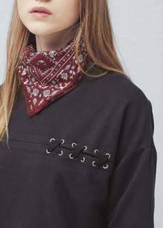 Baumwoll-sweatshirt mit kordeln - Cardigans und pullover für Damen | MANGO