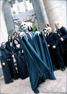 Here is another picture of fans in cosplay of the Dark Lord and his followers. Some fans get really into the cosplay and make accurate recreations of some of these characters.