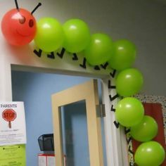 """Using balloons to create a classroom caterpillar is a creative idea. This would be great to use for """"The Very Hungry Caterpillar"""" by Eric Carle."""