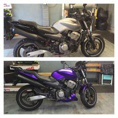 Honda Hornet 900 been in for the last couple of days for a full Matt purple chrome wrap.