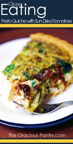 Clean Eating Pesto Quiche with Sun Dried Tomato Quiche