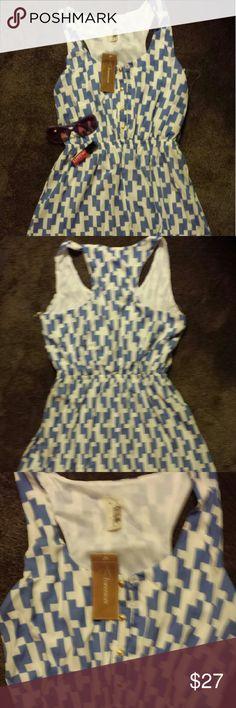 Francesca's mini dress. Large. absolutely adorable.  Blue & white.  Large.  Retails. $44. TV $35. Thanks. Francesca's Collections Dresses Mini