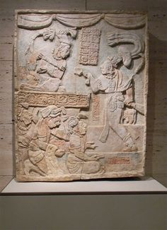 Presentation of Captives to a Maya Ruler. Mexico, Usumacinta River Valley, Maya culture. Limestone with traces of paint. Late Classic period (A.D. 600–900), c. A.D. 785. (The Kimbell Art Museum 2010)