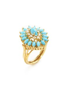 Vintage Diamond & Turquoise Marquise Ring by Estate Fine Jewelry at Gilt