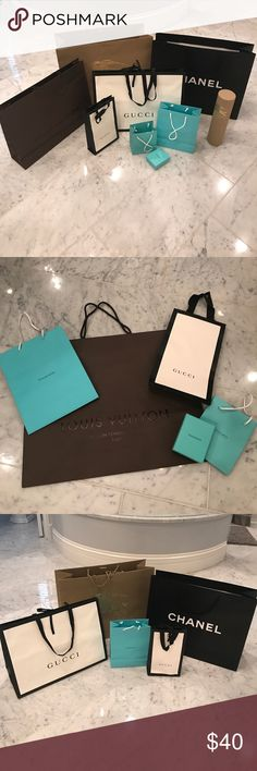 Shopping Bags!! Assorted lot of shopping bags. Please note that all bags have been used to carry purchases, so none are perfect! Will separate. Just ask! 2- Gucci 2-Louis Vuitton 2-Tiffany w/ one box, 1- large Burberry, 1- Burberry scarf box. Great for craft projects!! Gucci Bags