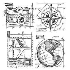 Tim Holtz Cling Rubber Stamps 2013 TRAVEL BLUEPRINT