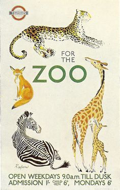 "By by Rojan, c 1 9 3 5, London Transport Tramways poster ""The Zoo""."