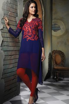 Royal #Blue & #Red colour georgette #Embroidered #womens #Kurti #ravishing #summer #collection #spring #design #indian #collection #classy #gorgeous #look #ladies #teens
