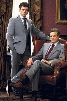 'Kingsman' Colin Firth and Taron Egerton from the movie Kingsman: The Secret Service. Kingsman Suits, Eggsy Kingsman, Taron Egerton Kingsman, The Kingsman, Colin Firth Kingsman, Kingsman The Secret Service, Kings Man, Mens Style Guide, Movies