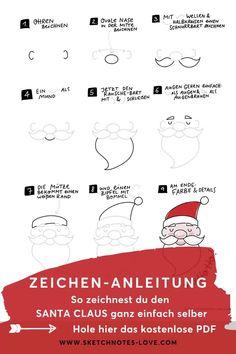 Selbst gezeichnete Weihnachtskarten, Geschenkanhänger, Weihnachtsdeko - für alle die einen Weihnachtsmann zeichnen lernen wollen, ist diese einfache Anleitung gedacht. Probier es aus und zeichne in wenigen Schritten einen Weihnachtsmann. Sketchnotes Vorlagen | Xmas Karten | Zeichnen Weihnachten | Weihnachtsdeko | Weihnachten Geschenke | Geschenk Anhänger | Sketchnotes Symbole | Sketchnotes Weihnachten |   Sketchnotes lernen | Sketchnotes Buch  #Nadine Roßa #Sketchnotes-love Sketch Notes, Simple Doodles, Drawings, Cartoon, Nice, Unique Christmas Cards, Drawing Faces, Visual Note Taking, Doodle Art Simple