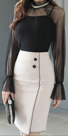 StyleOnme_Two Button Black Trim Line Pencil Skirt Mode Chic, Mode Style, Mode Outfits, Fashion Outfits, Womens Fashion, Fashion Clothes, Jw Mode, Work Attire, Mode Inspiration